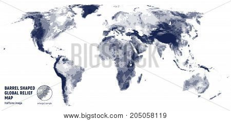 Vector halftone world relief map on a white background.