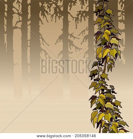 cartoon brown woods with yellow ivy plant