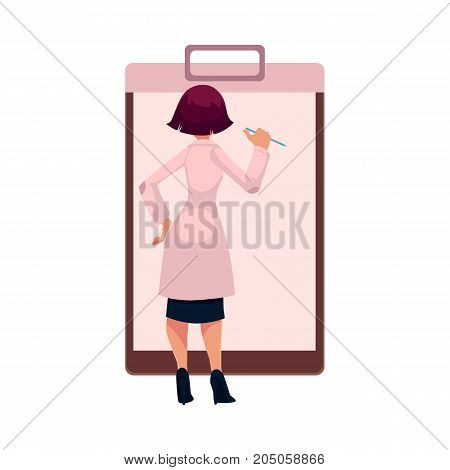 Young woman doctor writing in huge, giant medical card, patient chart, cartoon vector illustration isolated on white background. Cartoon woman doctor filling in huge, giant medical card