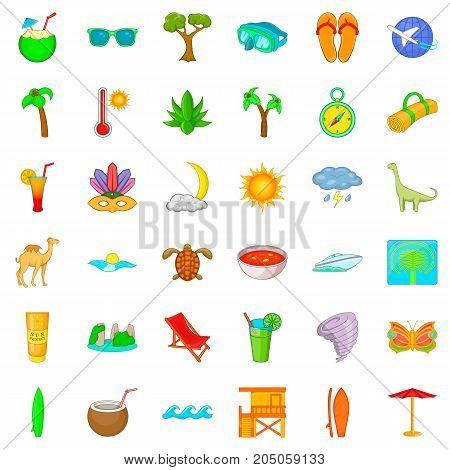Paradise icons set. Cartoon style of 36 paradise vector icons for web isolated on white background