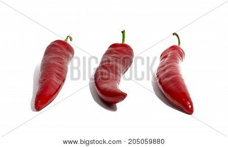 hot red chili pepper isolated on white background. food object.
