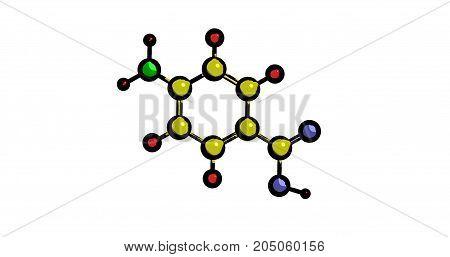 Molecular structure of 4-Aminobenzoic acid (vitamin B10) 3D rendering