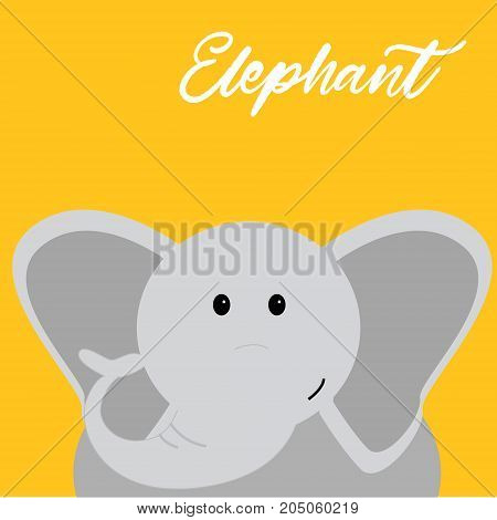 Vector hand drawn cartoon character illustration of cute baby elephant. Design element for children cards, invitations, stationery, baby showers.