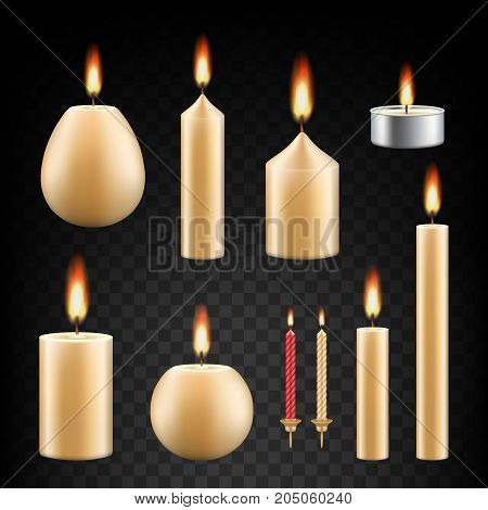 Vector set of burning candles. Realistic 3d candle icon set on transparent background.