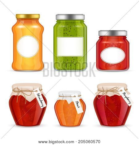 Vector fruit jam jar icon set. Delicious strawberry, peach, raspberry preserves, etc. Realistic jam jars decoration design. Glass jar with metal cap and kraft paper wrapped lid, twine collection.