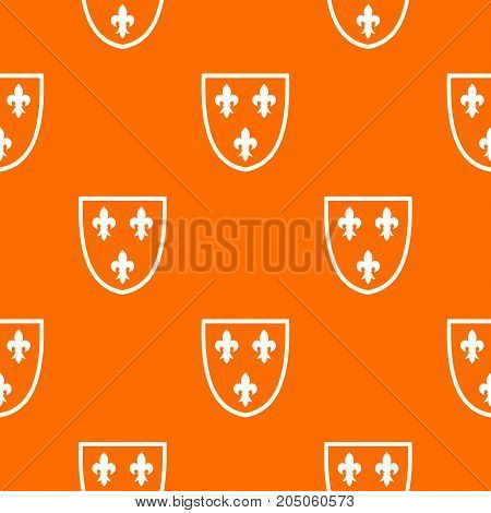Crest pattern repeat seamless in orange color for any design. Vector geometric illustration