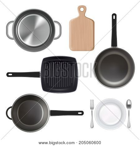 Vector top view illustration of kitchen utensils. Realistic cooking pan, frying pan, cutting board, plate with fork and spoon icons isolated on white background.