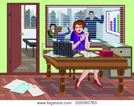 Secretary  doing manicure and speaking  on the phone. In the background meeting in the office