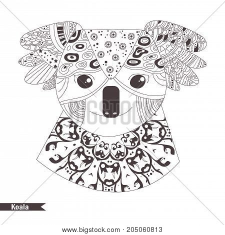 Koala. Coloring book for adult, antistress coloring pages. Hand drawn vector isolated illustration on white background. Henna mehendi, tattoo sketch.