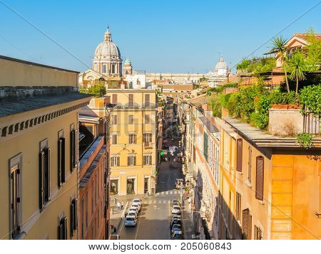 ROME, ITALY - SEPTEMBER 1, 2013: View of roofs and cityscape of Rome, Italy