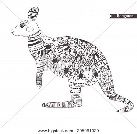 Kangaroo. Zentangle style. Coloring book for adult, antistress coloring pages. Hand drawn vector isolated illustration on white background. Henna mehendi, tattoo sketch