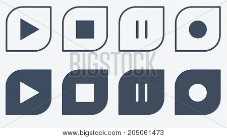 Icons play stop pause record vector button
