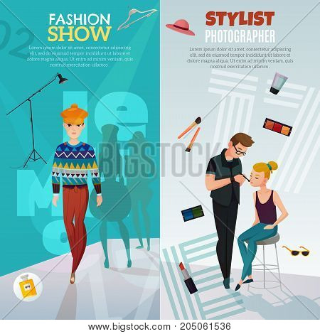 Fashion show vertical banners with guy model walking on catwalk, girl and stylist photographer isolated vector illustration