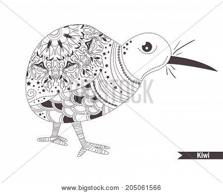 Kiwi. Zentangle style. Coloring book for adult, antistress coloring pages. Hand drawn vector isolated illustration on white background. Henna mehendi, tattoo sketch