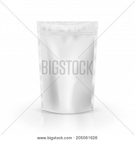 Blank Foil Food Or Drink Bag Packaging with valve and seal. Blank Foil plastic pouch coffee bag. Packaging template mockup collection. isolated on background. Vector illustration. Eps 10.