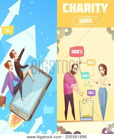 Two flat vertical banners on crowdfunding theme with  business startup and charity box cartoon compositions vector illustration