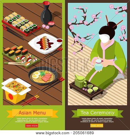 Isometric vertical banners set with diversified menu in sushi bar and tea ceremony composition 3d isolated vector illustration