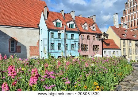Riga Latvia. Architecture of the Old Town in a sunny summer day
