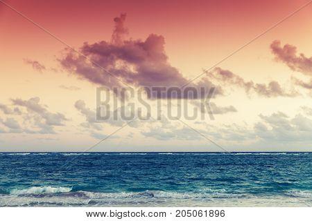 Colorful Sky Over Atlantic Ocean Coast At Sunset