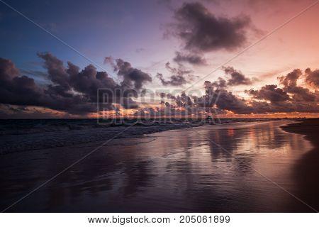 Dramatic Atlantic Sky Just Before The Sunrise
