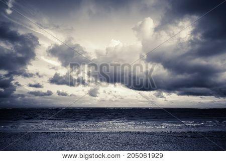 Atlantic Ocean Coast Under Dramatic Stormy Clouds