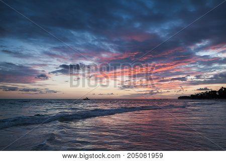 Colorful Sunrise On Atlantic Ocean Coast. Bavaro
