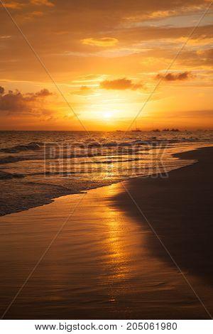 Orange Sunrise Over Atlantic Ocean Coast