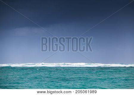 Coastal Caribbean Seascape. Big Shore Waves