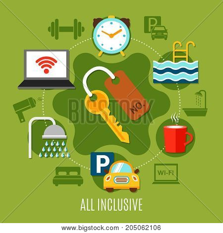 All inclusive design concept with elements of hotel service and transfer flat vector illustration