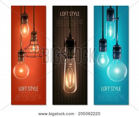Set of vertical banners with glowing light bulbs in vintage style on colorful backgrounds isolated vector illustration