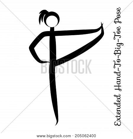 Extended Hand-To-Big-Toe Pose, Utthita Hasta Padangustasana. Yoga Position. Vector Silhouette Illustration. graphic design. logo element for spa center, studio, poster. Yoga retreat. Black. Isolated.