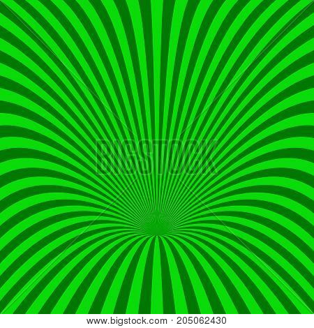 Curved radial stripe background - vector illustration from green curved rays