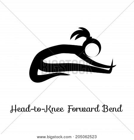 Head-to-Knee Forward Bend, Janu Sirsasana. Yoga Position. Vector Silhouette Illustration. Vector graphic design or logo element for spa center, studio, poster. Yoga retreat. Black. Isolated
