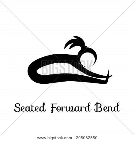 Seated Forward Bend, Paschimottanasana. Yoga Position. Vector Silhouette Illustration. Vector graphic design or logo element for spa center, studio, poster. Yoga retreat. Black. Isolated