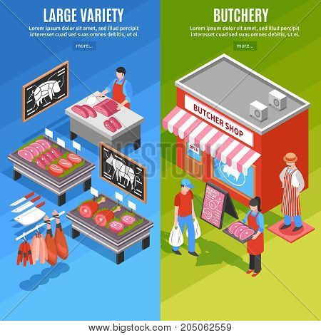 Isometric vertical banners with butchery shop outside and large variety of meat products isolated vector illustration