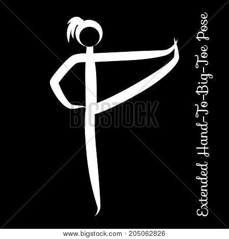 Extended Hand-To-Big-Toe Pose, Utthita Hasta Padangustasana. Yoga Position. Vector Silhouette Illustration. Vector graphic design or logo element for spa center, studio, poster. Yoga retreat. White
