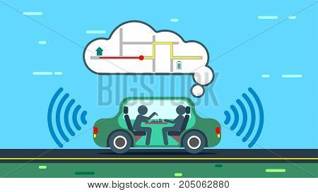 The autonomous car travels along the city road automatically paves the route of the trip. The autonomous car uses gps maps. Passengers of an unmanned car rest. VECTOR