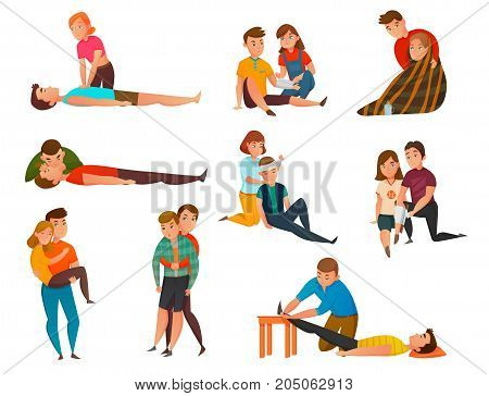 Educative cardiac arrest assistance program and emergency first aid resuscitation procedures cartoon icons collection isolated vector illustration