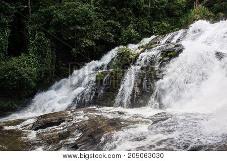 Pha Dok Siao Waterfall Chiangmai Province Thailand Beautiful water fall in Thailand soft blurred and soft focus.