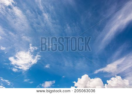 Empty sky is blue with white clouds.