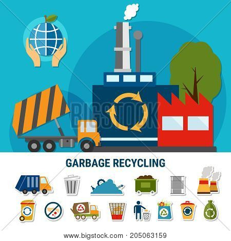 Garbage flat emoji icons collection with pictograms and composition of waste recycling plant and rubbish truck images vector illustration