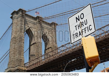 New York City, Usa, September 11, 2017 : Brooklyn Bridge. The Brooklyn Bridge Is A Hybrid Cable-stay