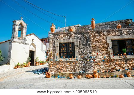Traditional Creten Village Margarites Famous For Handmade Ceramics, Crete, Greece