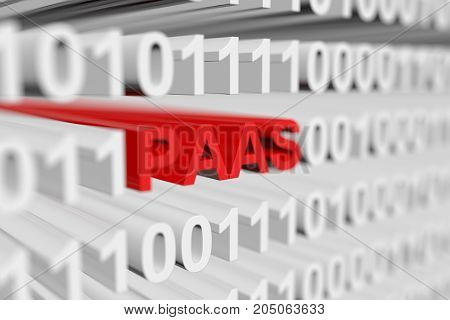 PAAS as a binary code with blurred background 3D illustration