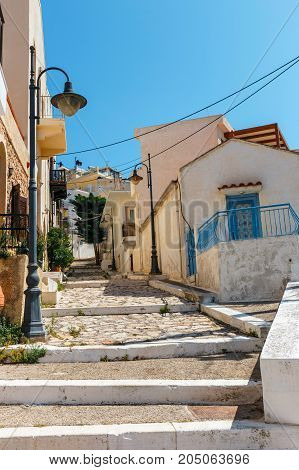 Street With Steps In Sitia Town, Crete Island, Greece