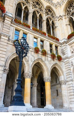 Courtyard Of City Hall In Vienna Also Know As Rathaus, Austria