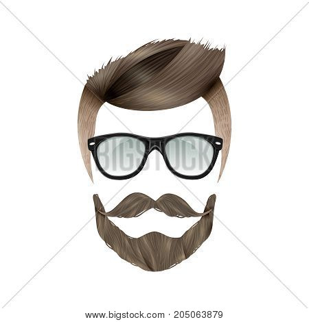 Realistic hipster brunet man with trendy hairstyle beard moustache and glasses on white background flat vector illustration