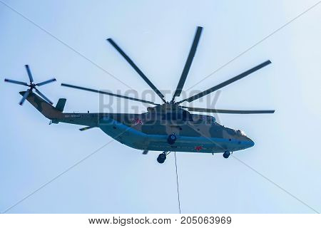 ROSTOV-ON-DON, RUSSIA - AUGUST, 2017: The Mil Mi-26 Halo is a Soviet or Russian heavy transport helicopter. It is the largest and most powerful helicopter to have gone into series production.