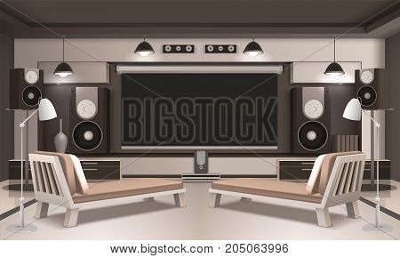 Modern home cinema interior 3d design with screen and acoustic equipment, couches on light background vector illustration