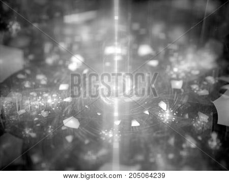 Energy source with glowing magical particles black and white texture computer generated abstract background 3D rendering